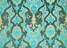 Rocco Damask Woven turquoise Velvet Jacquard Fabric - gotta find me something to recover!