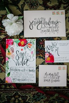 10 Beautiful Hand-Illustrated Wedding Invites via Brit + Co.