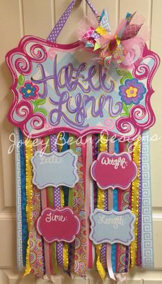 Hospital Door Hangers, Baby Door Hangers, Wooden Door Hangers, Girl Baby Shower Decorations, Baby Decor, Ac Moore Crafts, Baby Wish List, Baby Footprints, Diy Bow