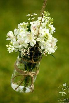 Mason jar flowers #DIY #wedding #flowers #decor by vonda