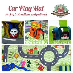English E-Book (PDF) Step-by-Step sewing guide for a Car Play Mat Sewing Projects For Kids, Sewing For Kids, Sewing Crafts, Car Play Mats, Felt Play Mat, Activity Mat, Baby Play, Kids Toys, Boy Toys
