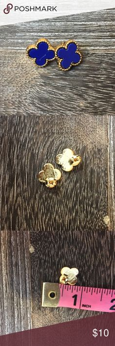 ❗3 for $20❗Royal Blue  Gold Clover Style Earrings Brand new Jewelry Earrings