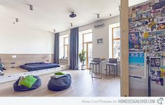 What a modern space! -- living modern apartment Unusual Layout Defining a 58 Sqm Open Studio Apartment in Ukraine Studio Apartment Design, Studio Apartments, Apartment Interior Design, Small Apartments, Modern Interior Design, Studio Design, Studio Interior, Interior Decorating, Modern Spaces