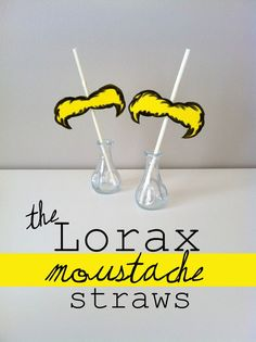 Lorax Moustache Straws, dr suess