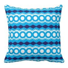 Teal Turquoise Blue Geometric Pattern Design Pillows