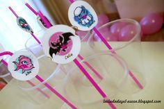 Pajitas personalizadas fiesta cumpleaños Monster High