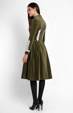 Long-sleeve cotton velvet dress with cotton lace finish. Mandarin collar. Hidden back zip closure. Side seam pockets.