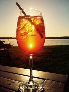 한잔, 칵테일, 자연, 물, 일몰, 경치, 호수, 분위기, 여름