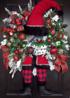"Christmas Wreath-""Tartan Plaid Santa""  Petals & Plumes-Hat n' Boots Collection © 2010"