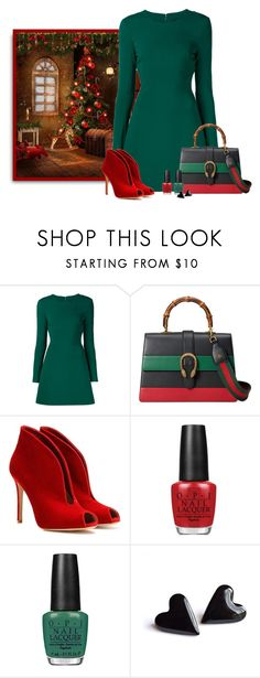 """""""Merry Christmas"""" by nina-k-307 ❤ liked on Polyvore featuring Cushnie Et Ochs, Gucci, Gianvito Rossi and OPI"""