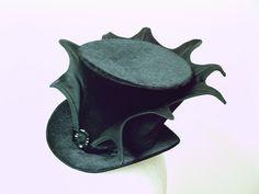 SALE - Wicked Mini Top Hat - Black on Black. $80.00, via Etsy.