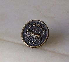 Antique Coveralls Button  S. O. and Co. N.Y. Locomotive Sweet