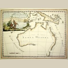 Print of map of New Holland by Giovanni Maria Cassini Hand-coloured $99.00 http://www.heritage-editions.com.au/p-22-australia-after-captain-cook-hand-coloured-la-nuova-olanda-new-holland.aspx