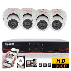 960P Home Security Camera System 4 Channel 1080N HDMI DVR AHD Indoor CCTV Kit 1T #SUNCHAN