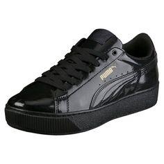 3d326fc6517 Puma Vikky Platform Patent Ladies Sneaker Shoes Black