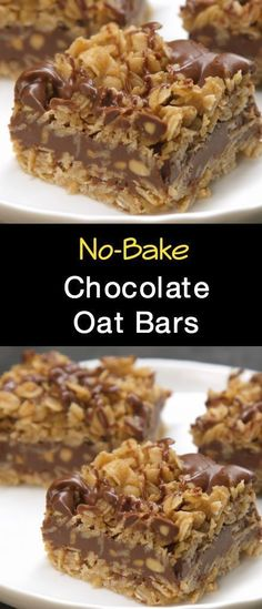 Need a sweet treat that doesn't require heat? Try our No-Bake Chocolate Oat … Need a sweet treat that doesn't require heat? Try our No-Bake Chocolate Oat Bars! This simple delight whips up quickly and mixes crunch with chocolate taste. Mini Desserts, Easy Desserts, Delicious Desserts, Yummy Food, Baking Desserts, Simple Dessert Recipes, Simple Snacks, Quick Simple Desserts, Christmas Desserts