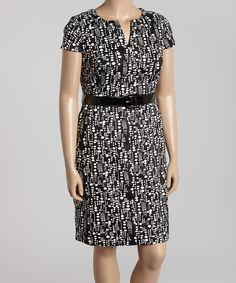 Another great find on #zulily! Black & White Dot Notch Neck Dress - Plus by Eden Court #zulilyfinds