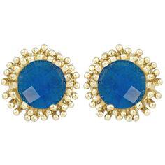 Kendra Scott Carly Blue Agate Stud Earrings featuring polyvore, fashion, jewelry, earrings, blue earrings, post earrings, 14k stud earrings, 14 karat gold earrings and spike earrings