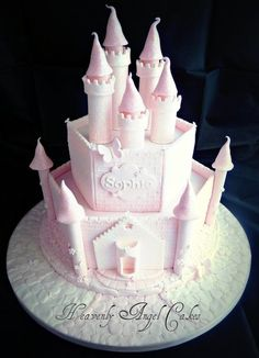 Enchanted Castle cake: pink & frosty