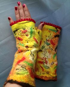 Fingerless gloves felted red fingerless mittens by Tatiana123