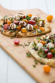 Grilled Caprese Naan Pizza drizzled with a Balsamic Glaze