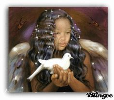 Angel of Peace African American Art, Native American Art, American Artists, African Art, American History, Angel Images, Angel Pictures, Entertaining Angels, Black Fairy