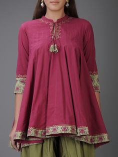 Fuchsia Aari-Embroidered Kalidar Cotton Tunic with Mirror Work Crop Top Designs, Tunic Designs, Kurta Designs Women, Dress Neck Designs, Frock Fashion, Fashion Dresses, Stylish Dresses For Girls, Short Frocks, Cotton Tunics