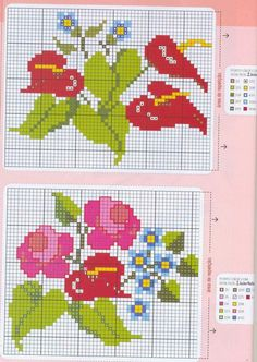 Red Lilies with Forget-me-nots / Bright Pink Roses with Forget-me-nots Free Cross Stitch Patterns