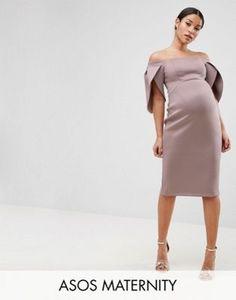 7bcb3efe8a641 ASOS Maternity Petal Sleeve Bardot Midi Bodycon Dress Maternity Evening Wear,  Winter Maternity Outfits,