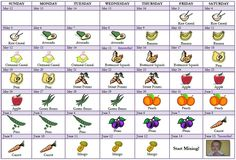 busy bee : Baby Talk : Calendar of foods to start baby on solids. This helps figure out if there are any allergies before mixing different foods.