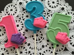 Numbered PRINCESS CROWN Chocolate Lollipops  by CandyConfections