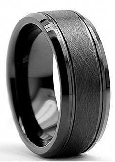 This is an all black tungsten carbide mens wedding band. Featuring a brushed texture center, two polished channel grooves and polished beveled edges. Using the highest quality tungsten carbide makes t Black Gold Jewelry, Black Rings, Silver Rings, Black Tungsten Rings, Tungsten Carbide Wedding Bands, Beautiful Wedding Rings, Wedding Men, Trendy Wedding, Wedding Quotes