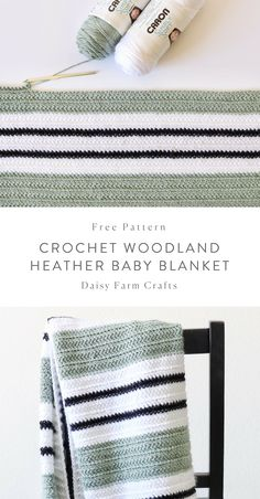 Crochet Afghans Free Pattern - Crochet Woodland Heather Baby Blanket - The inspiration for this blanket comes from a beautiful rug that I saw from H Crochet Afghans, Motifs Afghans, Afghan Patterns, Crochet Blanket Patterns, Baby Blanket Crochet, Crochet Stitches, Crochet Hooks, Knitting Patterns, Crochet Blankets