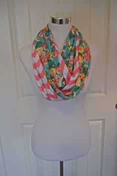New Whimsical Spring Floral Collection Roses and Chevron Stripes Infinity Scarf by ChevronScarf on Etsy ~ limited edition