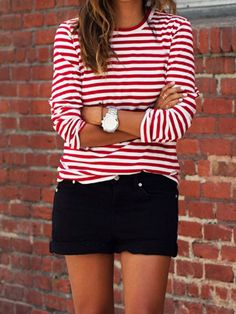 Autumn Women Lady Loose Long Sleeve Casual Blouse T-Shirt Tops Fashion Striped Breton Stripes Outfit, Striped Top Outfit, Outfits With Striped Shirts, Stripe Top, Mode Outfits, Casual Outfits, Autumn Fashion Casual, Red And White Stripes, Mode Inspiration