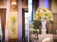 floral sphere centerpiece and wall panels