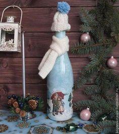 """Новогоднее шампанское """"Шапку надень! На улице снег!"""" - голубой,шампанское"""