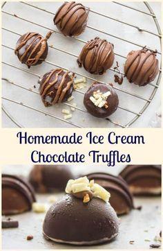 Homemade Ice Cream Chocolate Truffles, an easy decadent Summer Dessert recipe. Use your favorite ice cream and chocolate. Delicious.  via @https://it.pinterest.com/Italianinkitchn/