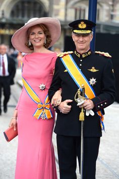 Royal guests attending Prince Willem-Alexander's Inauguration: Princess Mathilde of Belgium and Prince Philippe of Belgium