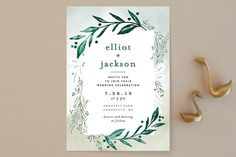 """""""Dip dyed foliage"""" - Wedding Invitations in Fresh Green by Alethea and Ruth."""