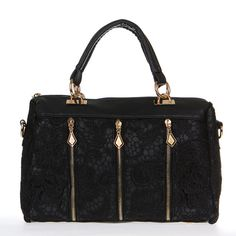 Features: Crafted from high quality PU (Faux) Leather, soft and smooth touch. Details include: Trendy lace front and sides, Twin grab handles, zip top closure, 3-zipper decorations in the front, protective metal feet, a zip pocket to the reverse and a spacious main compartment with two open pockets and one zipped pocket. Detachable shoulder strap with an adjustable length. Specifications: Materials: (Faux) Leather Color: Black Size: 32 * 22 * 13cm/ 12.6 * 8.7 * 5.1in Handle drop: 13cm/ 5.1in…