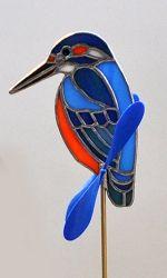 ガーデンピック バードピック ステンドグラス 鳥 インテリア 花鳥 カワセミ かわせみ オーナメント ガーデニング