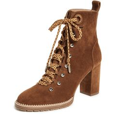 Aquazzura Hiker 90 Booties (73.115 RUB) ❤ liked on Polyvore featuring shoes, boots, ankle booties, cognac, leather chelsea boots, lace up chunky heel booties, leather booties, chelsea bootie and lace-up ankle booties