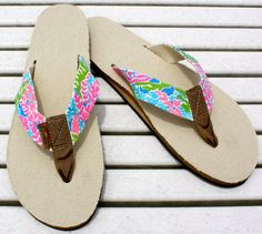 Lilly Pulitzer Inspired Hand Painted Rainbow Sandals.