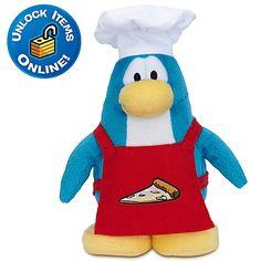 Club Penguin Pizza Chef Penguin Plush Toy -- 6'' H