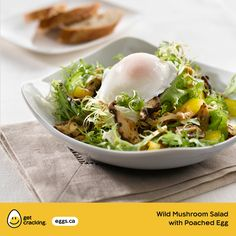 Wild Mushroom Salad with Poached Egg   Eggs.ca   #GetCracking #Eggs #Poached This marriage was blessed in cuisine heaven. Mushroom lovers can take their pick of cremini, oyster or shiitake cooked, or why not try a blend of all three. Serve on a bed of escarole sprinkled with Parmesan and topped with a delicately poached egg.