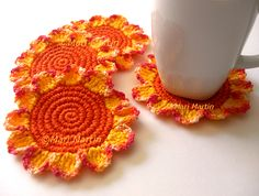 Crochet Coasters Orange Mix Flowers. No pattern