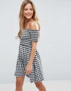 Buy it now. ASOS Off Shoulder Sundress With Shirring In Gingham - Multi. Dress by ASOS Collection, Lightweight woven fabric, Gingham print, Off-shoulder design, Bardot neck, Shirred stretch top, Regular fit - true to size, Machine wash, 100% Viscose, Our model wears a UK 8/EU 36/US 4 and is 173cm/5'8 tall. ABOUT ASOS COLLECTION Score a wardrobe win no matter the dress code with our ASOS Collection own-label collection. From polished prom to the after party, our London-based design team scour…