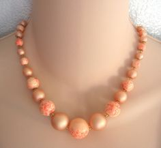 peachand gold necklesses | Peach Frosted Beaded Necklace Vintage Japan 1950s