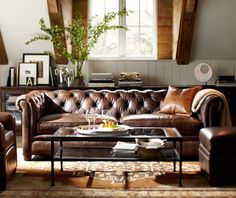 French Country Charm - potterybarn: For the love of leather. ~My Couch ~sandra de~Interior Design~